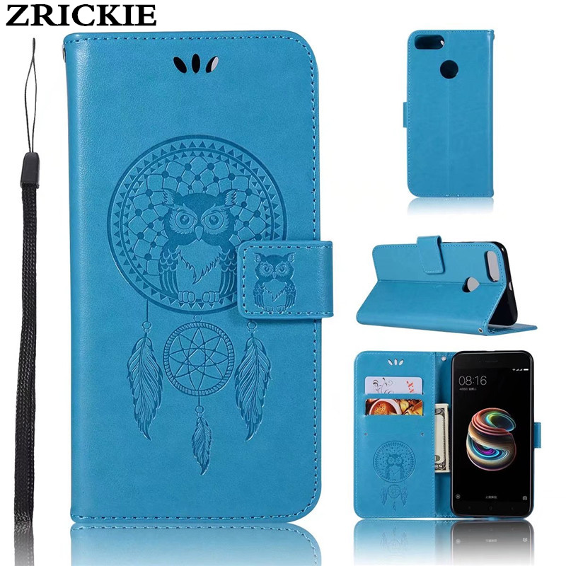 ZRICKIE Cute Owl Dream Catcher Embossed Card Holder Case for Xiaomi Mi 5X A1 PU Leather Cover MI5X Stand Coque with Handstrap