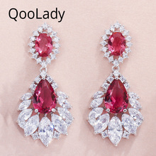 QooLady Fashion Marquise Cut Red Cubic Zirconia Sparkling Silver Long Dangle Tear Drop Wedding Party Earrings for Women E011