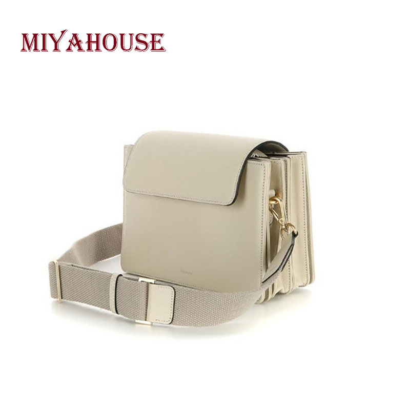 Miyahouse PU Leather Shoulder Bag With Wide Strap For Women Simple Solid Color Messenger Bag Female Korean Style Korean Style