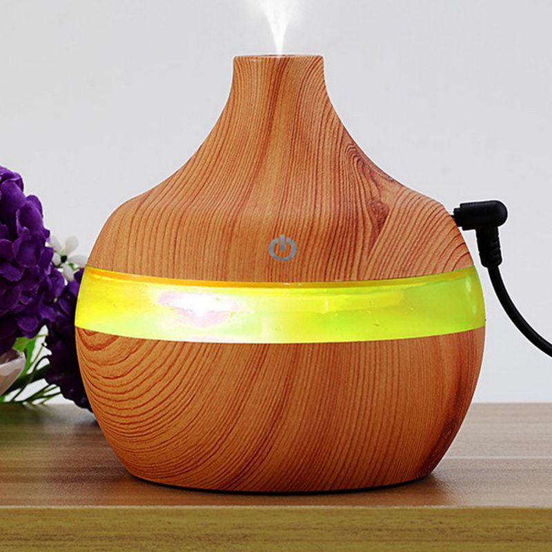 High Quality 300ML Wood Grain Aromatherapy USB Humidifier Water Droplets Air Purification Essential Oil Aroma Diffuser Creative