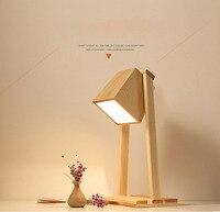 나무 간단한 테이블 램프 크리 에이 티브 오피스 테이블 램프 북유럽 현대적인 미니 멀리 즘 포스트 모던 테이블 램프 홈 침실 연구실