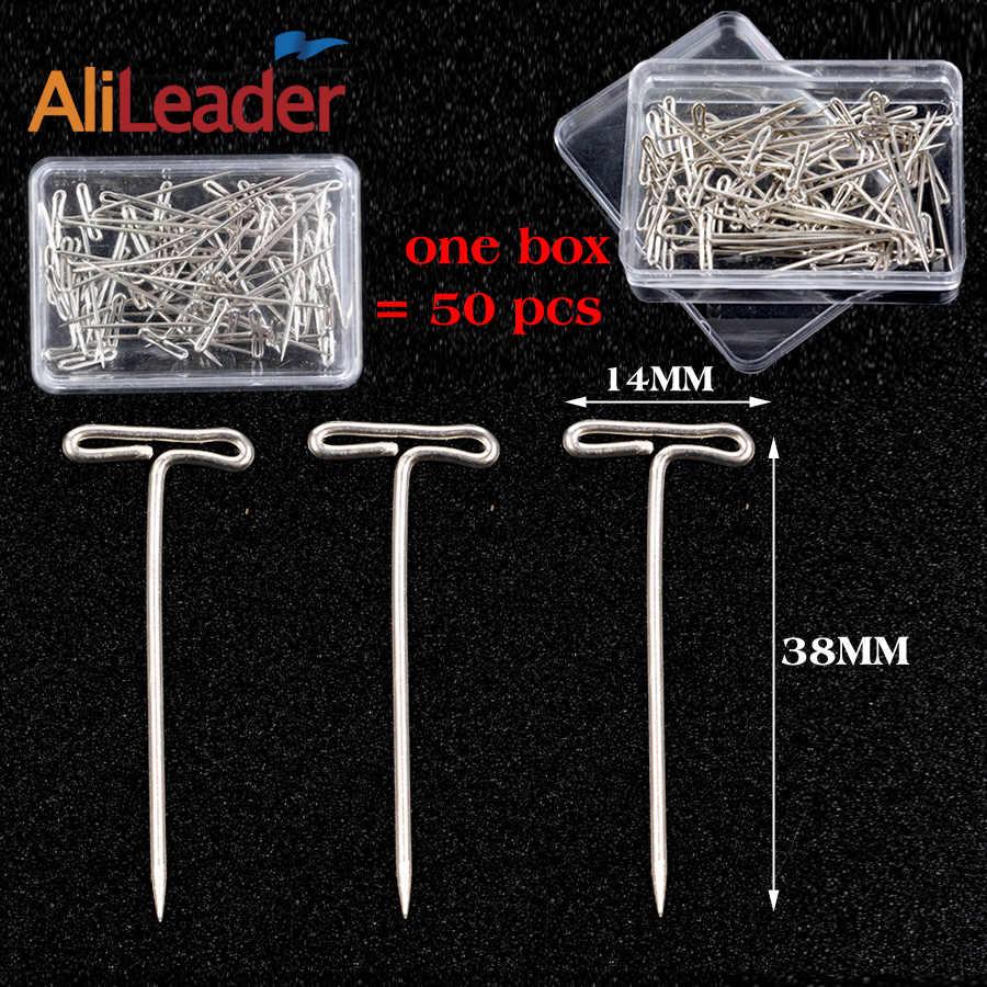 AliLeader Chất Lượng Tốt Bạc 50 pcs Tpins cho Tóc Giả Làm/Hiển Thị Trên Đầu Bọt, 38mm Dài T- pins May Tóc Kim công cụ Tạo Kiểu