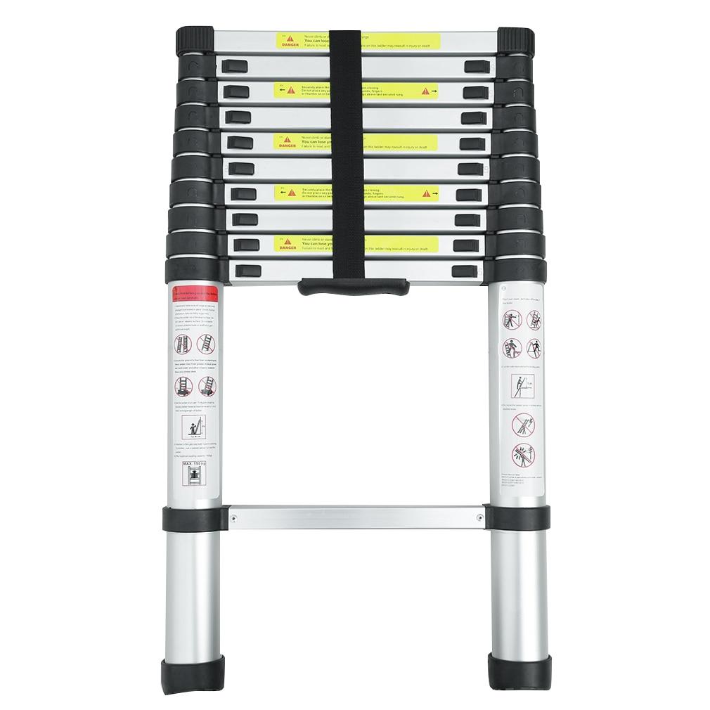 3.2m Multi-Purpose Alloy Aluminum Retractable Multifunctional Telescopic Single Straight Extension Extendable Ladder