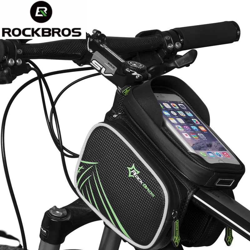 ROCKBROS Bike Bicicletta Telaio Anteriore Testa Tubo Superiore Bag Doppio IPouch Bicicletta Pannier Per 4.2/5.8/6 pollice Smartphone Touch schermo