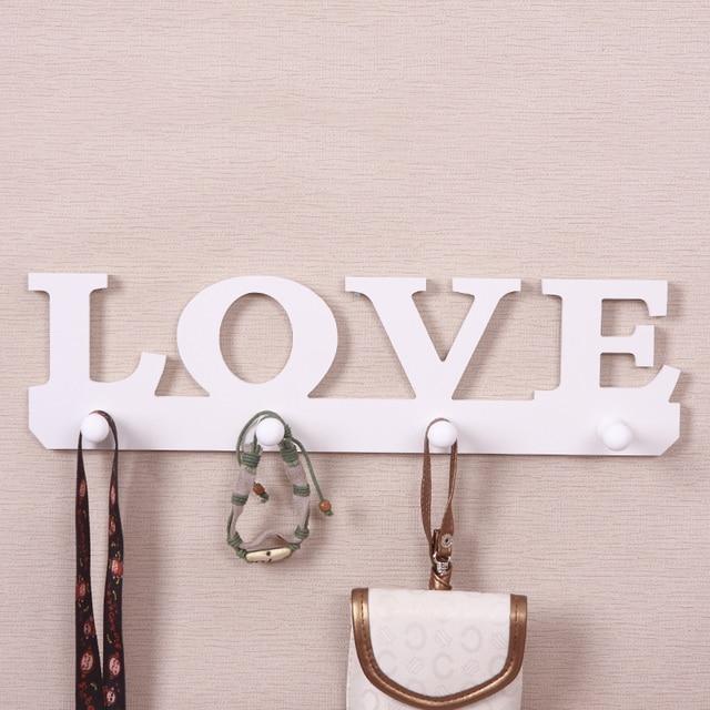 Warmth Home Decor Love Hanger Wooden Back Door Key Holder Hat Scarf Hanger Hooks for Bathroom