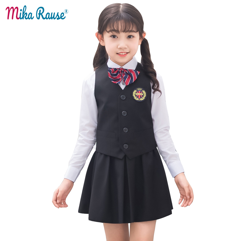 Summer school kids girls clothes set girl party clothing pupils uniform formal solid clothing suits teenage ceremony costume