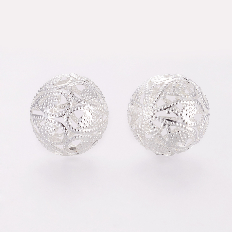 200pcs Silver Round Filigree Iron Beads for jewelry making 20mm , hole: 2.5mm