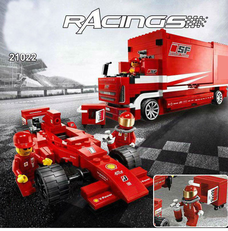 WAZ Compatible Legoe Technic 8185 Lepin 21022 554pcs Super Racing F1 Automobile Carrier building blocks Bricks toys for children