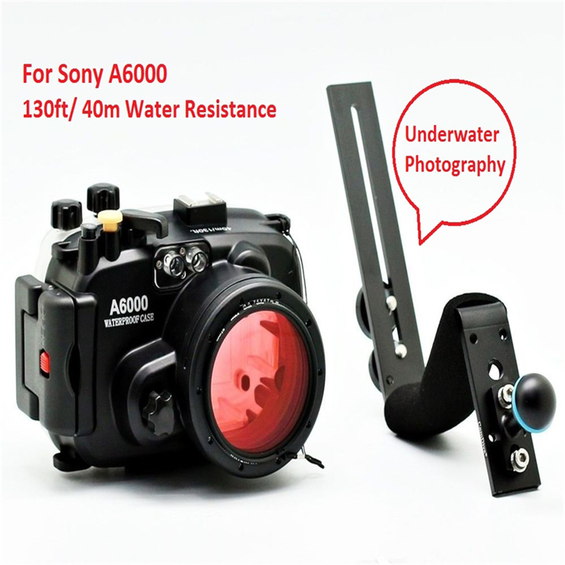 Meikon Underwater Camera Housing For Sony A6000 (16-50mm) 40m/130ft + diving handle + 67mm Red diving filter meikon underwater camera housing for sony dsc rx100 iv 40m 130ft red underwater filter wet 67mm aluminum diving handle