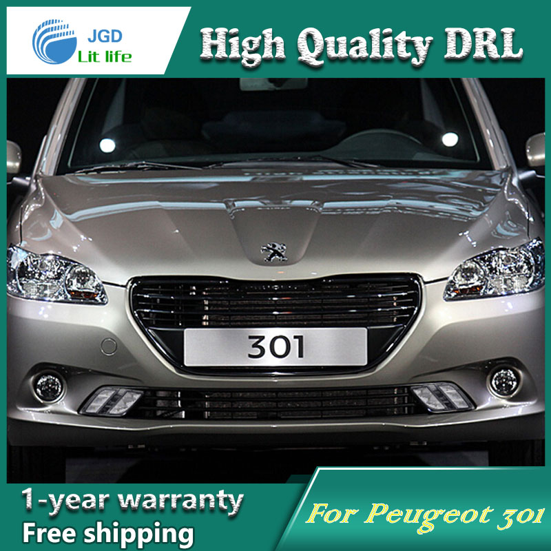 Free shipping !12V 6000k LED DRL Daytime running light case for <font><b>Peugeot</b></font> <font><b>301</b></font> 2014-2016 fog <font><b>lamp</b></font> frame Fog light Car styling image
