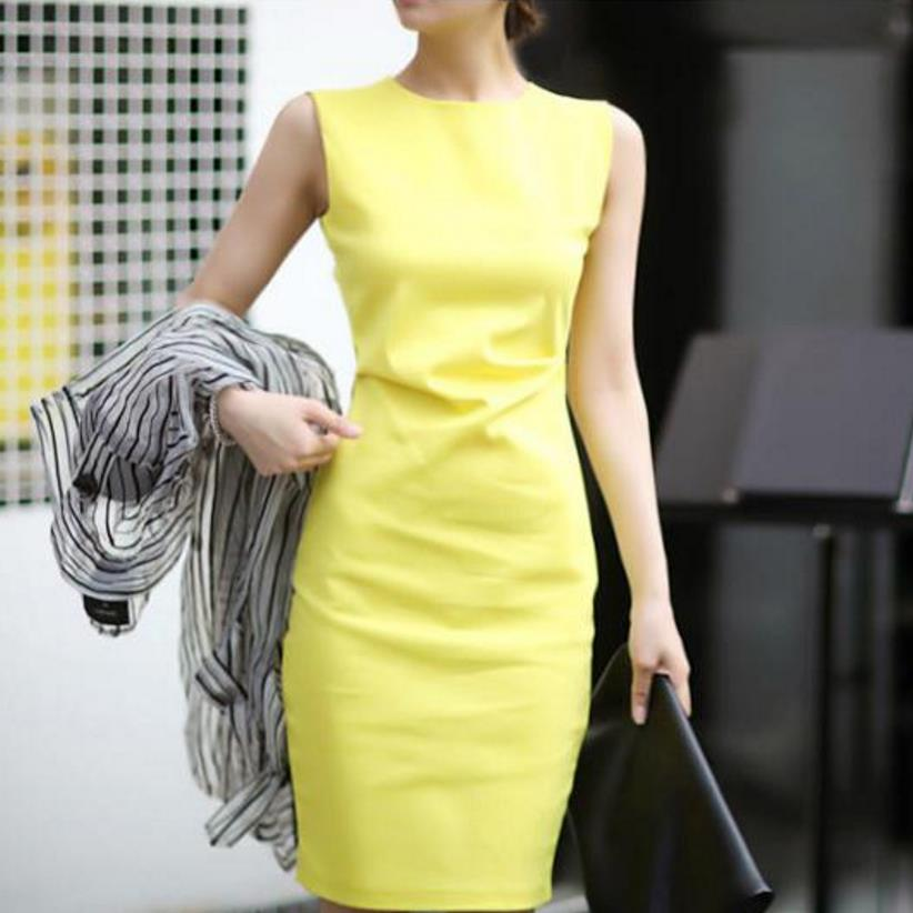 new career sleeveless tank dress OL round neck dress elegant cotton pencil dress