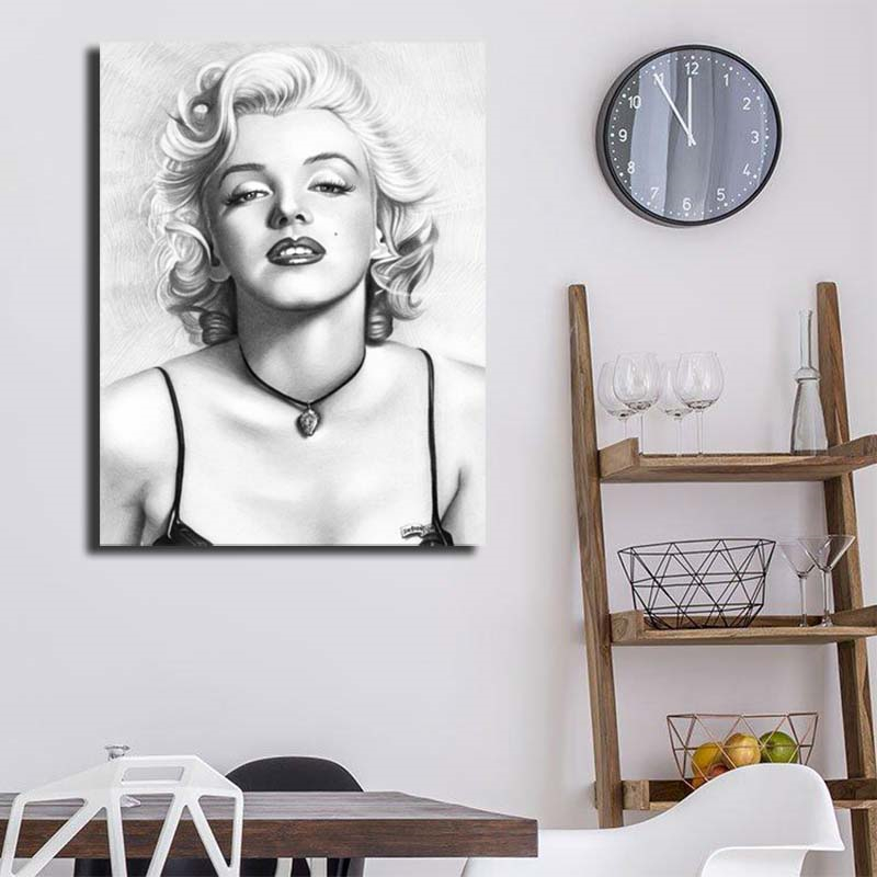 Marylin Monroe Pencil Portrait Canvas Painting Print Bedroom Home Decor Modern Wall Art Oil Poster Picture Framework HD