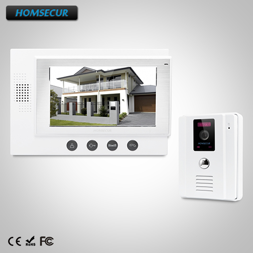 "HOMSECUR 7"" Wired Video&Audio Home Intercom+White Camera for House/Flat: TC011-W Camera (White)+TM701-W Monitor (White)"