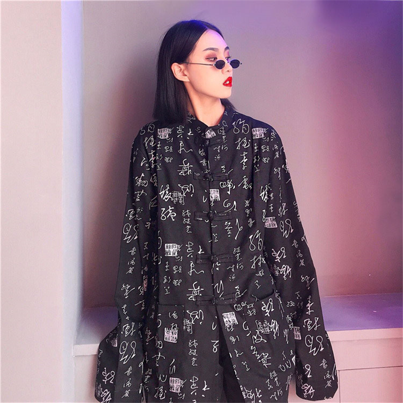 Women's Clothing Harajuku Blouses Women Chinese Retro Shirts Characters Printed Long Sleeve Loose Fashion Streetwear Shirts Femme