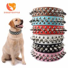 Pet Dog Rivet Collars PU Leather Round Bullet Nail Studded Necklace Spiked Strap Punk Style Small Dogs Cat Collar 6 Colors(China)