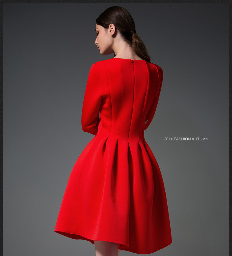 Fashion Autumn Winter Dress Women Cotton Three Quarter Sleev ...
