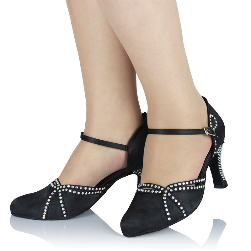 Samba Latin Dance Shoes Women Girls Satin Legend Ladies Ballroom with Soft Cow Suede Outsole