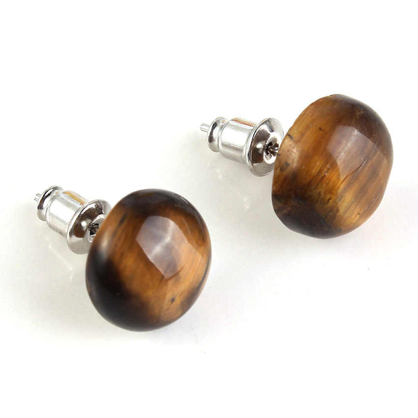 Trendy-beads New Stylish Silver Plated Natural Tiger Eye Stone Half Ball Stud Earrings For Women Fashion Jewelry