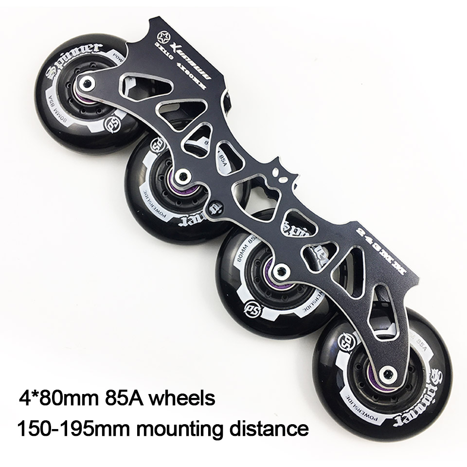 Frame & 85A Wheels & Bearings 4 * 80 mm Base for Inline Skates for Slalom Slide Free Skating for Adult Kids Skates Basin DJ54 labeda slalom inline skates 4 wheels adult skating shoes with rocking type pu wheels for free skating sliding street skating