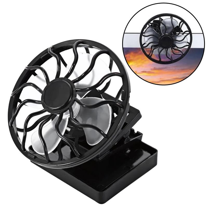 Clip-On Solar Fan Portable Solar Powered Mini Cooling Fan with Sun Power Energy Panel for Summer Camping Hiking Fishing Outdoors