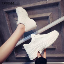 ARSMUNDI New 2019 Summer Fashion Women Casual Shoes Breathable Mesh Platform Comfortable Sneakers White M499