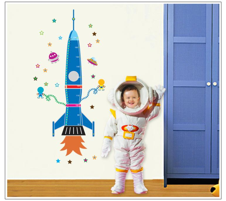 58 160cm rocket height wall sticker for kids room growth for Growth chart for kids room
