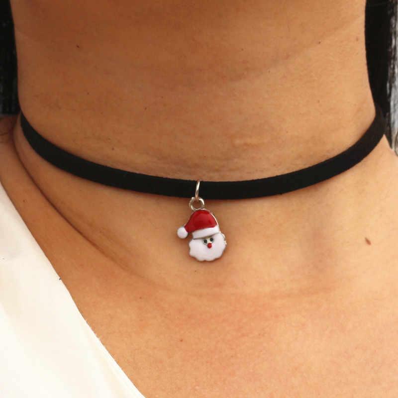 Choker naszyjniki mężczyźni kobiety czarny aksamitny zamsz skórzany krótki Collares biżuteria Gothic 90's Bijoux Steampunk Christmas Gift