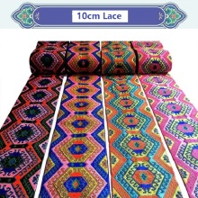 10cm National Lace Ribbon Costumes Embroidered Garment Accessories Style Clothing DIY Ethnic Webbing