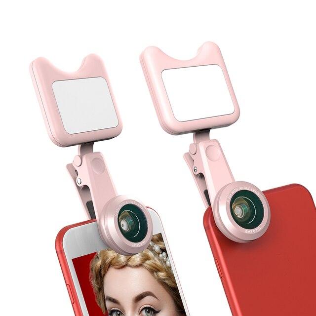 APEXEL LED Selfie Light Fill-in light +0.36X Wide Angle Lens + 15X Macro Lens Kit For iPhone Samsung phones 2