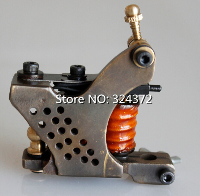 ФОТО Professional 8 wraps liner handmade Cast brass frame Tattoo Machine Gun