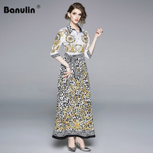 Banulin High Quality Runway Maxi dress Womens  Half Sleeve Turn Down Neck Retro Leopard Print Belt Waist Beach long Dress