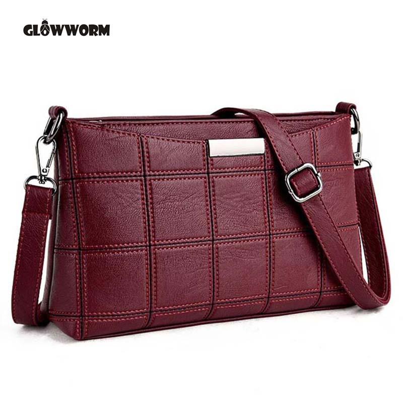 Women Genuine Leather Plaid Messenger Bags Sac a Main Shoulder Bags Women Crossbody Bag Ladies High Quality Sheepskin Handbags 2017 real genuine leather rivet women handbags crossbody bags ladies retro messenger bags shoulder bag sac a main bolsos femme