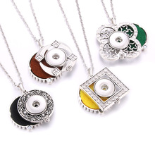 New Aroma Perfume Aromatherapy Diffuser Locket Rhinestone Pendant Necklace Snap Jewelry Necklaces Fit 18mm Button