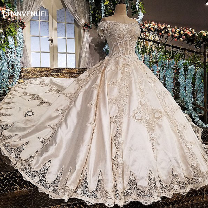 3a99ff09c9 LS01599 wedding dress 2018 satin sweetheart ball gown beading short sleeves  appliques court train lace up vestido de casamento