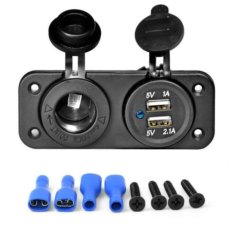 Cimiva Dual USB Car Cigarette Lighter Socket Splitter 12V Charger Power Adapter Outlet 12V
