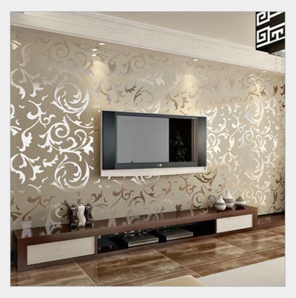 A Italia Modern Yang Timbul Background Wallpaper Untuk Ruang Tamu Perak Dan Abu