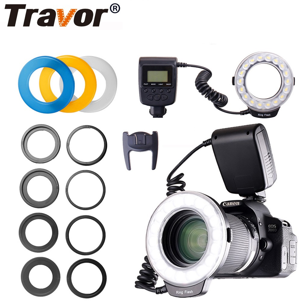 Travor LED Flash Ring Light 18 PCS LED Macro Ring Flash RF-600D For NIKON Canon Olympus SONY Panasonic Speedlite LCD Display wansen w48 4w 480lm 48 led makro macro ring lighting flash for canon nikon page 1