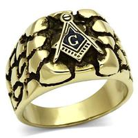 New Jewelry Stainless Steel Fashion Masonic Rings For Men High Polished Black Epoxy IP Gold Plated