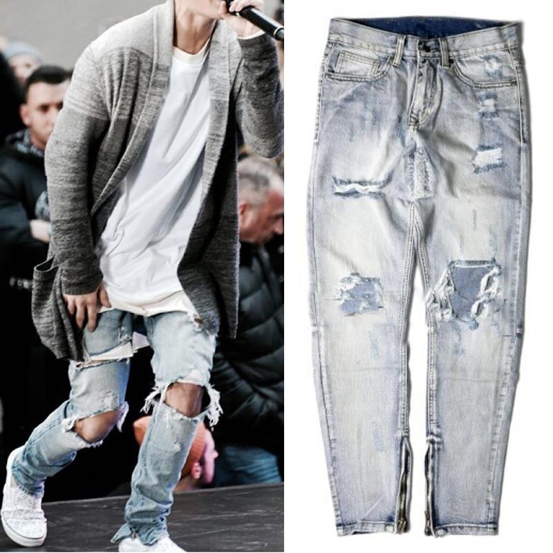 ФОТО kanye west Severe tattered skinny ripped rockstar hiphop Fashion god men justin bieber ankle zipper skinny slim Elasticity jeans