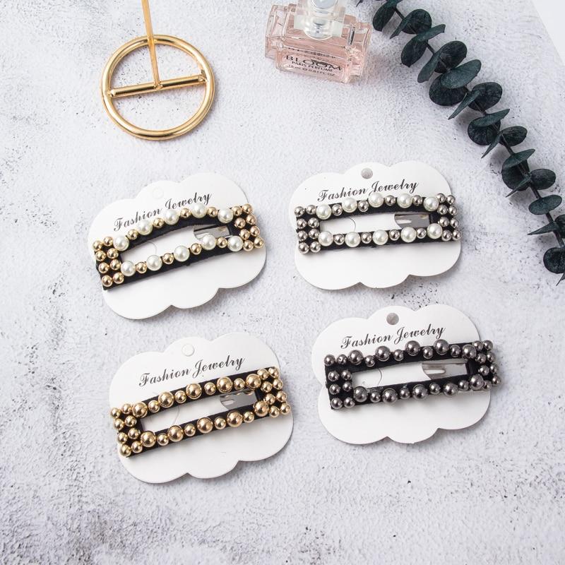 Apparel Accessories Confident Hollow Rectangle Women Hair Pins Retro Pearl Gold Silver Alloy Hair Clips For Girls 4 Colors Accesorios Para El Cabello Fj057 Refreshment