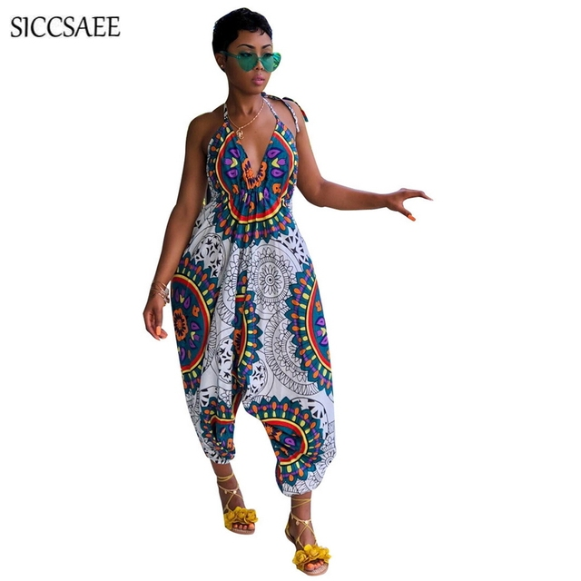52c2aadb0ca6 Floral Print Halter Harem Jumpsuits For Women 2018 Backless Wide Leg  Palazzo Pants Hippie Vintage Boho Style Retro Rompers Fall
