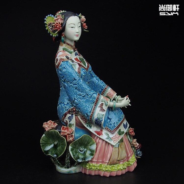 Shiwan poupée maître Lin Weidong boutique été dames figure artisanat en céramique ornements TV armoire décor