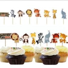 24 шт. сафари Джунгли животных кекс топперы выбирает день кекс топперы украшения Дети день рождения сувениры кекс топперы GF504