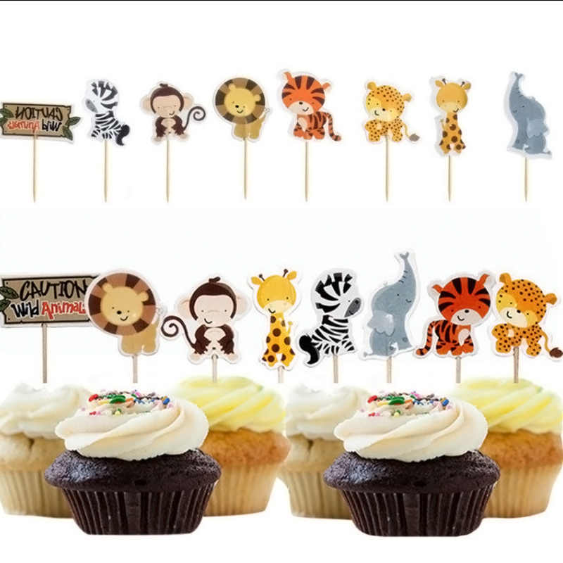 24pcs Party Safari Jungle Animal Cupcake Toppers Picks Birthday Decoration Kids Baby Shower Boy Favors