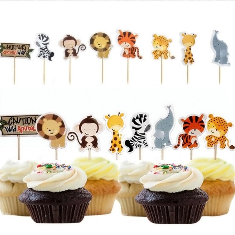 24pcs Safari Jungle Animal Cupcake Toppers Picks Birthday Party Decoration Kids Baby Shower Boy Favors  Cupcake Toppers GF504 tropical luau party picks 50ct