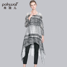 POKWAI Long Casual Summer Silk Linen Dress Women Fashion High Quality 2017 New Arrival Full Sleeve O-Neck Asymmetrical Dresses
