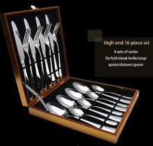 Hot Sale 16 Pcs/set Pure Solid Color european Dinnerware Stainless Steel Western Cutlery Kitchen Food Tableware Dinner Set