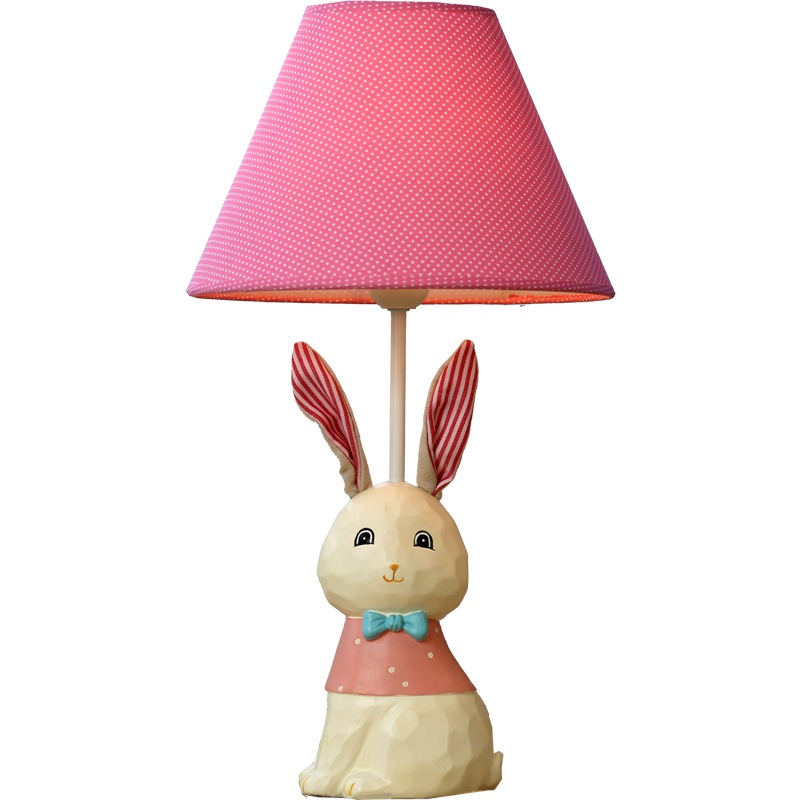 Cute Ears Rabbit Style Kid's Gift Table Lamp Rose Red Linen Lampshade Children Study Reading Desk Lamp For Kid's Room 45x25cm