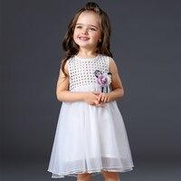 Fashion Summer Baby Girl Clothes Girls White Tulle Dress 2017 Kids Dresses For Girls Flower Korean