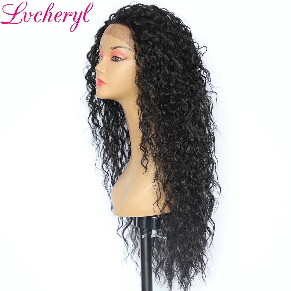 Lvcheryl Hand Tied Kinky Curly Hair Wigs Black Color 150 Density Heat Resistant Synthetic Lace Front